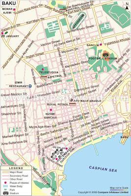 Mapa de Baku – Azerbaijão
