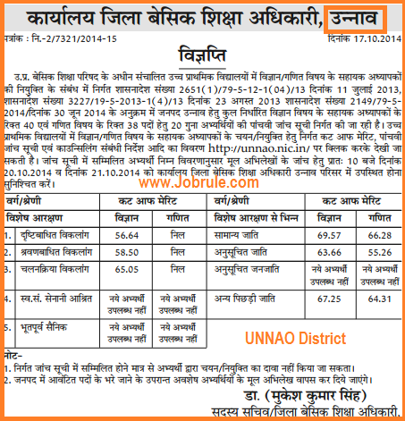 Uttar Pradesh 29334 Maths & Science JRT Bharti 5th Counseling Cut Off list of Pratapgarh, Sambhal, Mau, Sonbhadra & Unnao Districts