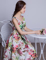 New 2016 Spring Paradise Colorful Floral Bridesmaids Dress