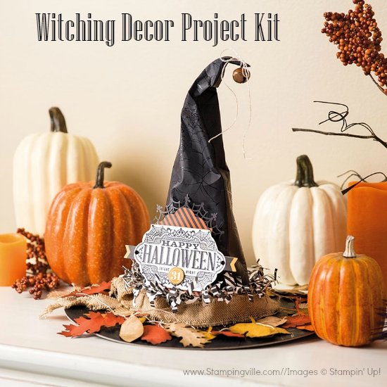 Photo image of completed witch hat for Halloween. Witching Decor Project Kit by Stampin' Up!