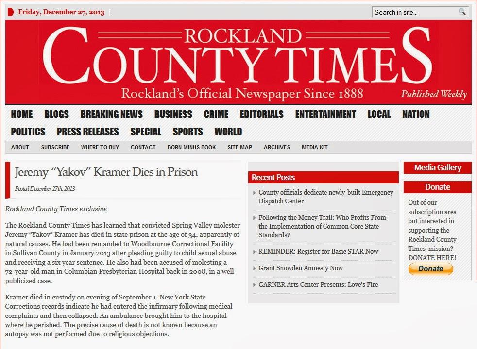 http://www.rocklandtimes.com/2013/12/27/jeremy-yakov-kramer-dies-in-prison/