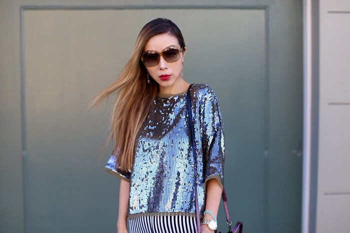 topshop Raw Edge Sequin Tee, coach swagger 20 bag, alice and olivia wide leg pants, christian louboutin so kate heels, swarovski amazing sunglasses, rumbatime madison gem stone watch, fashion blog, nyc blogger, street style, holiday outfit, holiday outfit ideas, holiday look, kendra scott bracelet