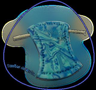 colgante mokume gane azul en arcilla polimérica