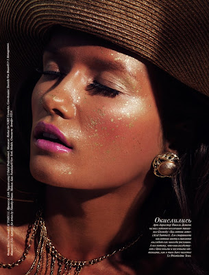 Vogue beauty, woman with glowing tan skin, vogue russia