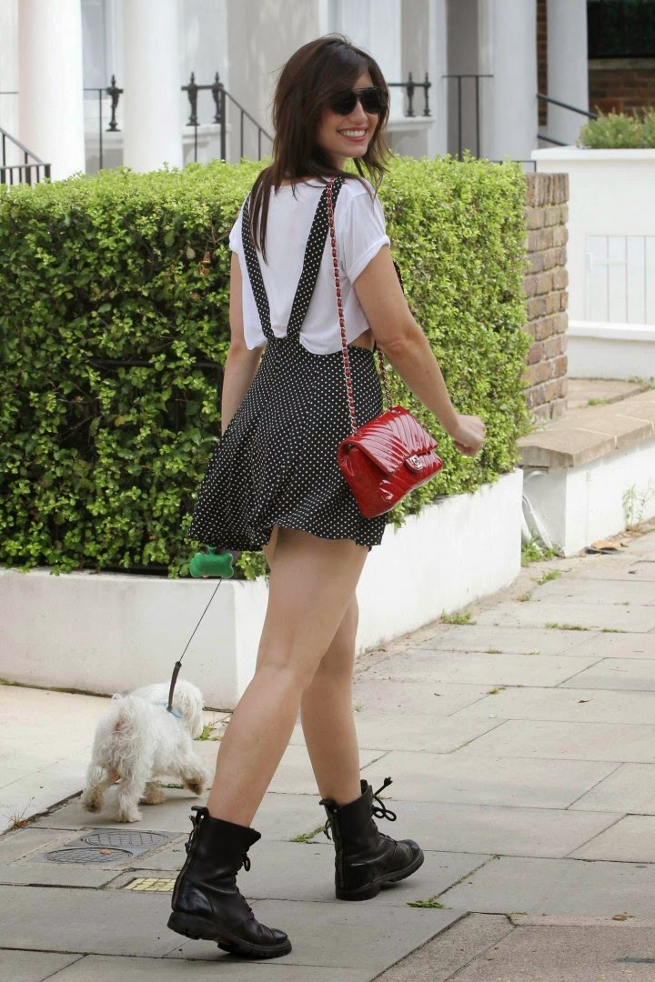 Daisy Lowe spotted in a short polka-dotted pinafore out and about in Primrose Hill