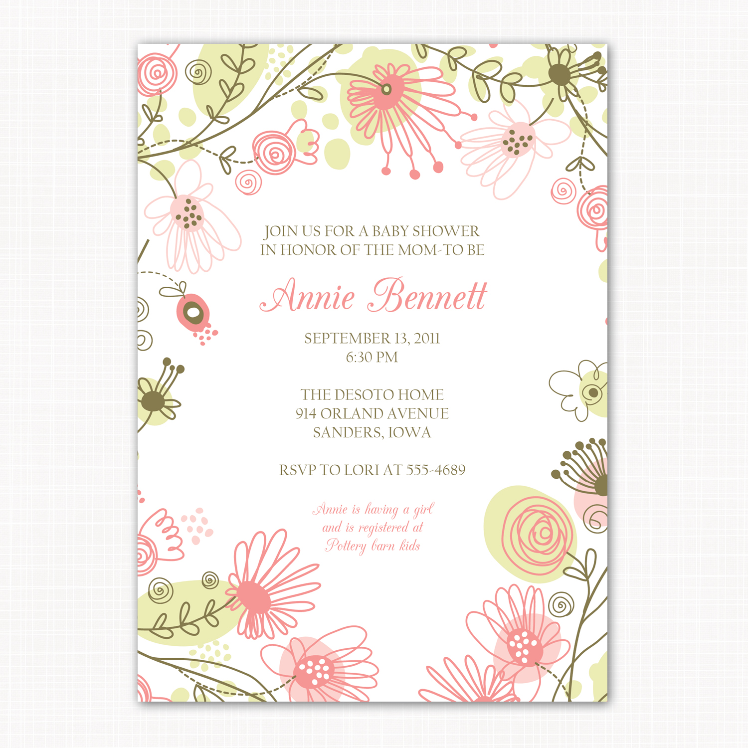 Designs: Modern baby girl shower invitations and birth announcements