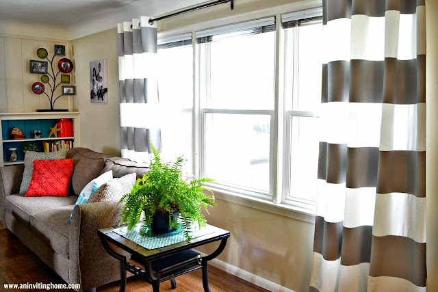 homemade striped curtains for the living room