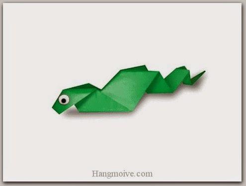 Cách gấp, xếp con rắn bằng giấy origami - Video hướng dẫn xếp hình Động vật - How to fold a Snake