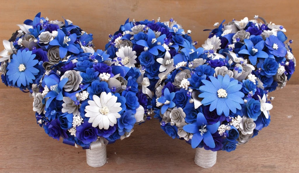 Royal Blue and Silver Wedding Bouquets Made of Wood and Corn husk ...