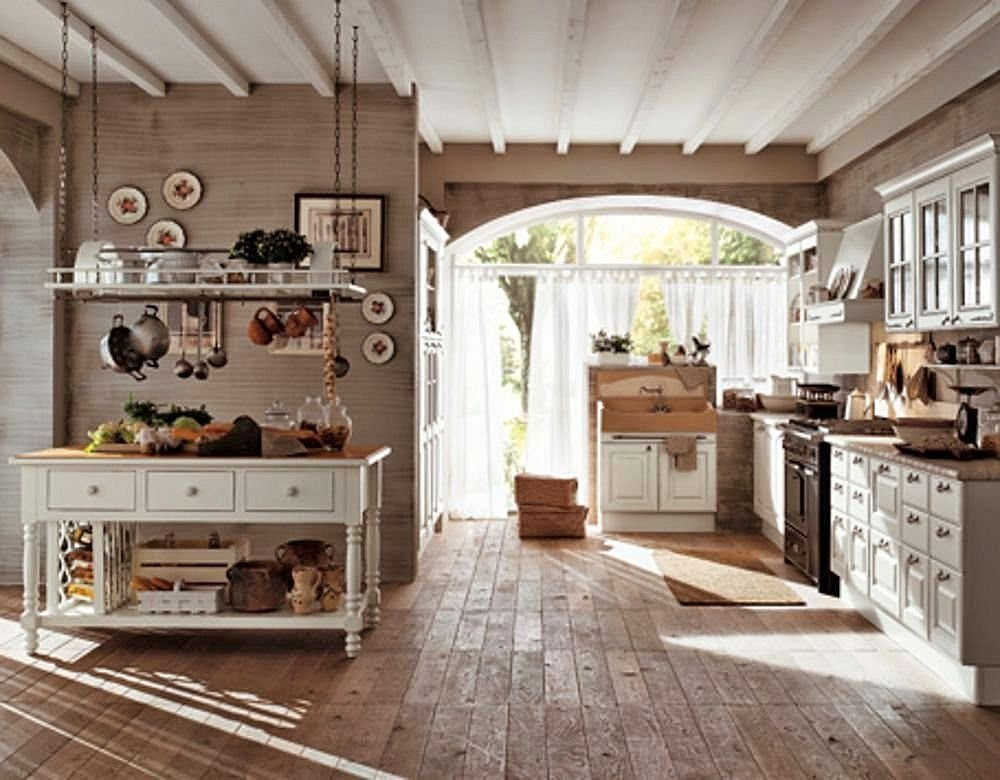Country Design Ideas weathered wood maximizes the airy space of a high ceilinged rustic country kitchen design Country Home Design Ideas