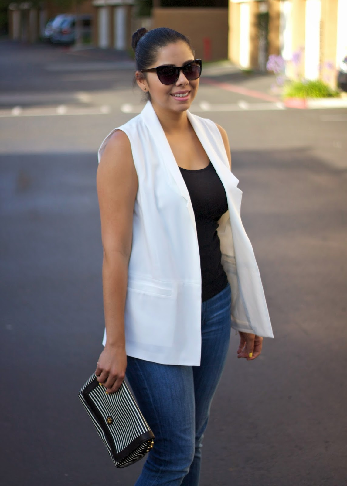 white longline vest, kate spade striped clutch, san diego style blogger