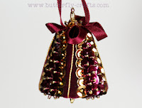 Handmade Burgundy Bell Christmas Tree Decoration