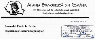 † Adresele transmise de către A.E.R. Camerei Deputaţilor şi Senatului României