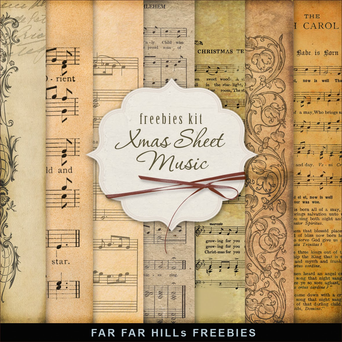 Freebies Kit of Old Christmas Music Sheet:Far Far Hill - Free ...