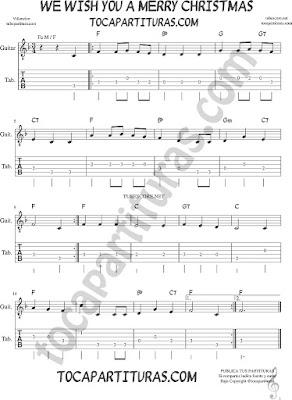 Tubepartitura We Wish you a Merry Christmas Tablatura del punteo de guitarra Villancico en Fa