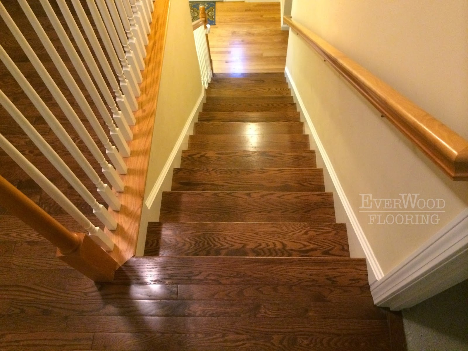 EverWood Flooring Project Profiles: Prefinished Oak Install with Custom-Stained Stair Treads to ...