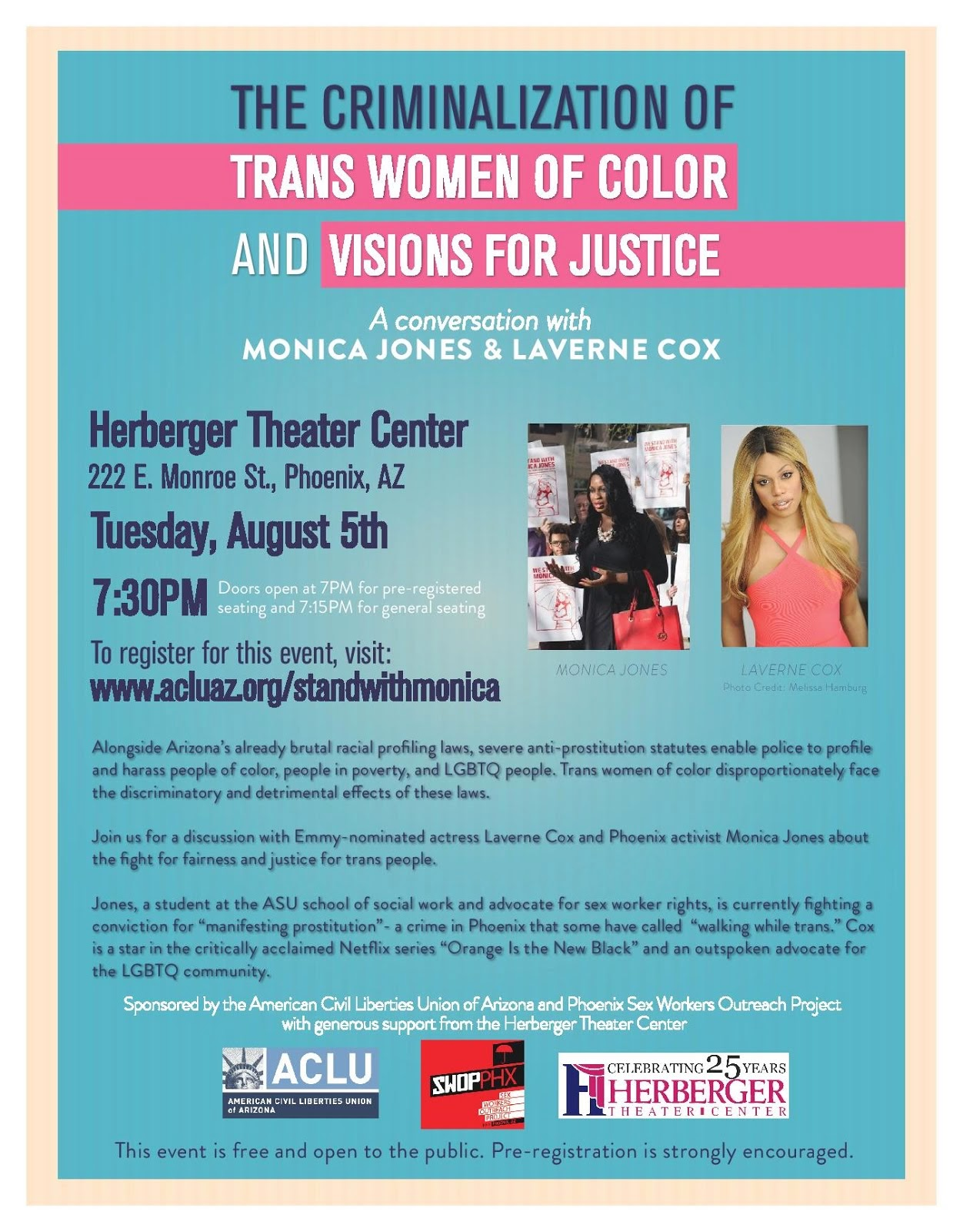 AUG 5, 7:30pm: Laverne Cox and Monica Jones at the Herberger!
