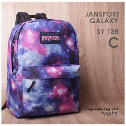 jual online tas ransel jansport motif galaxy warna terbaru blue harga murah