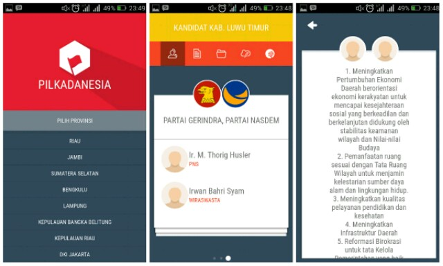 Pilkadanesia, Aplikasi Pilkada di Android