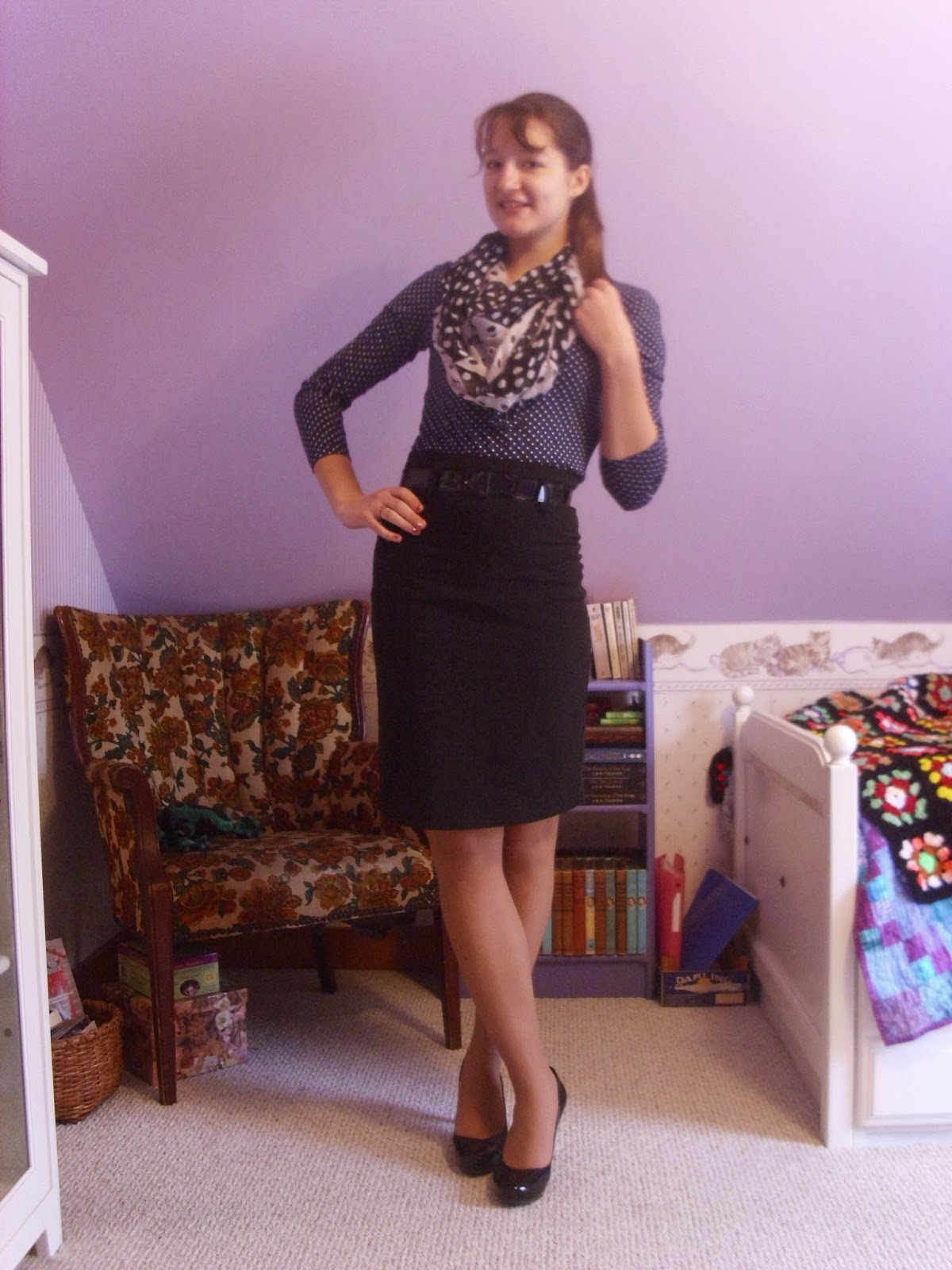 print matching polka dots pencil skirt outfit ll Young Yankee Lady