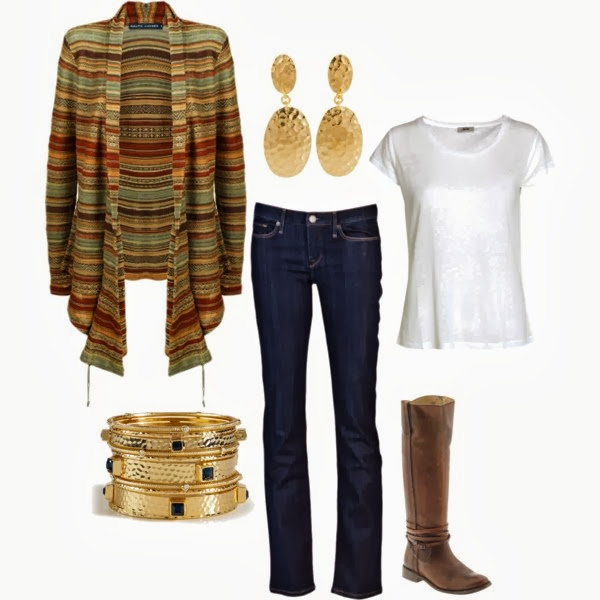 Colourful lined sweater, white blouse, pants, bracelet and long boots