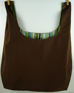 brown with green stripes reusable shopping bag