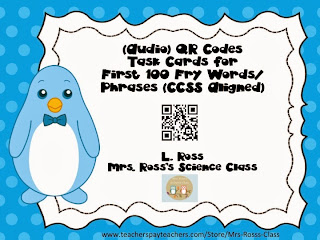 http://www.teacherspayteachers.com/Product/Audio-QR-Codes-Task-Cards-for-First-100-Fry-Words-1034810