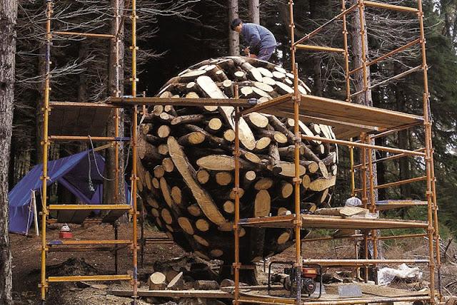Large Globes of shaped Wood Logs