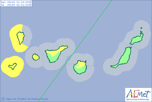 avisos amarillos por lluvias y costeros para el sábado 31 octubre en Canarias