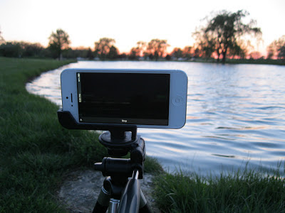 iphone on tripod over pond