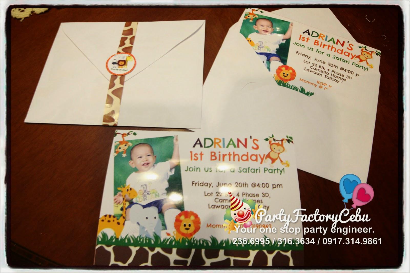 Welcome to PartyFactory Cebu: Adrian Josh\'s 1st safari Birthday party