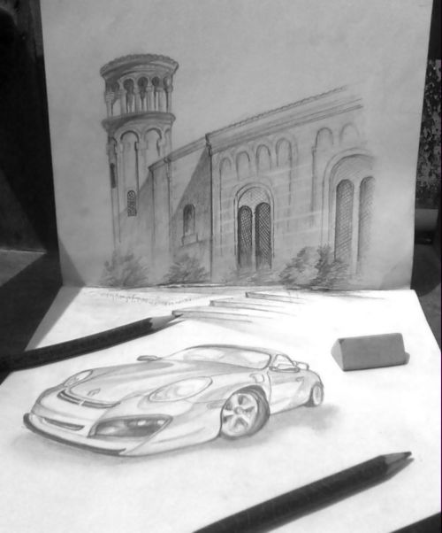 A Building At Night Pencil Drawing Rainbow The Colour Of Life