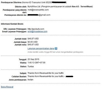 Bukti pembayaran kedua dari RevenueHits