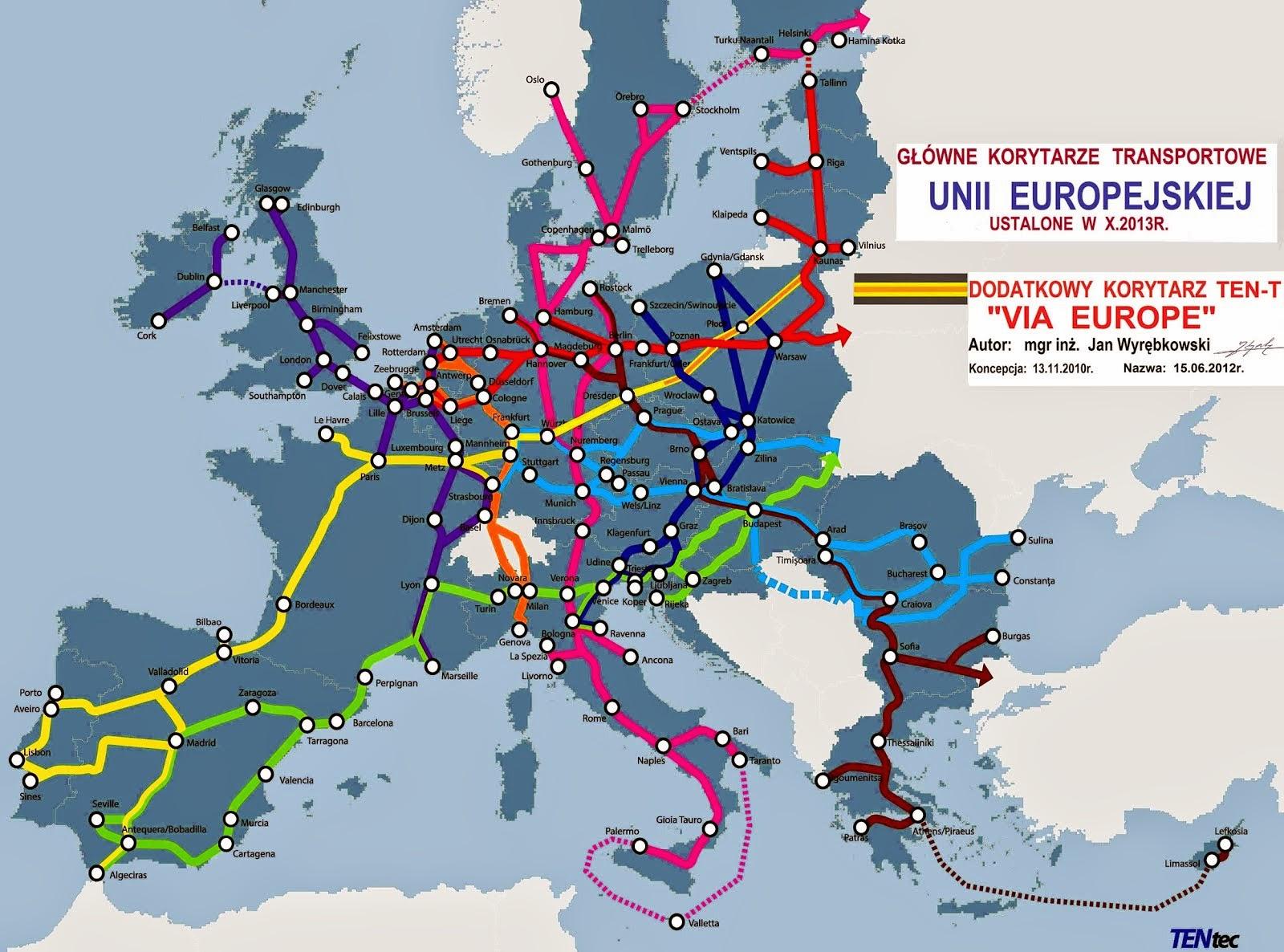 Unia Europejska z drogą Via Europe