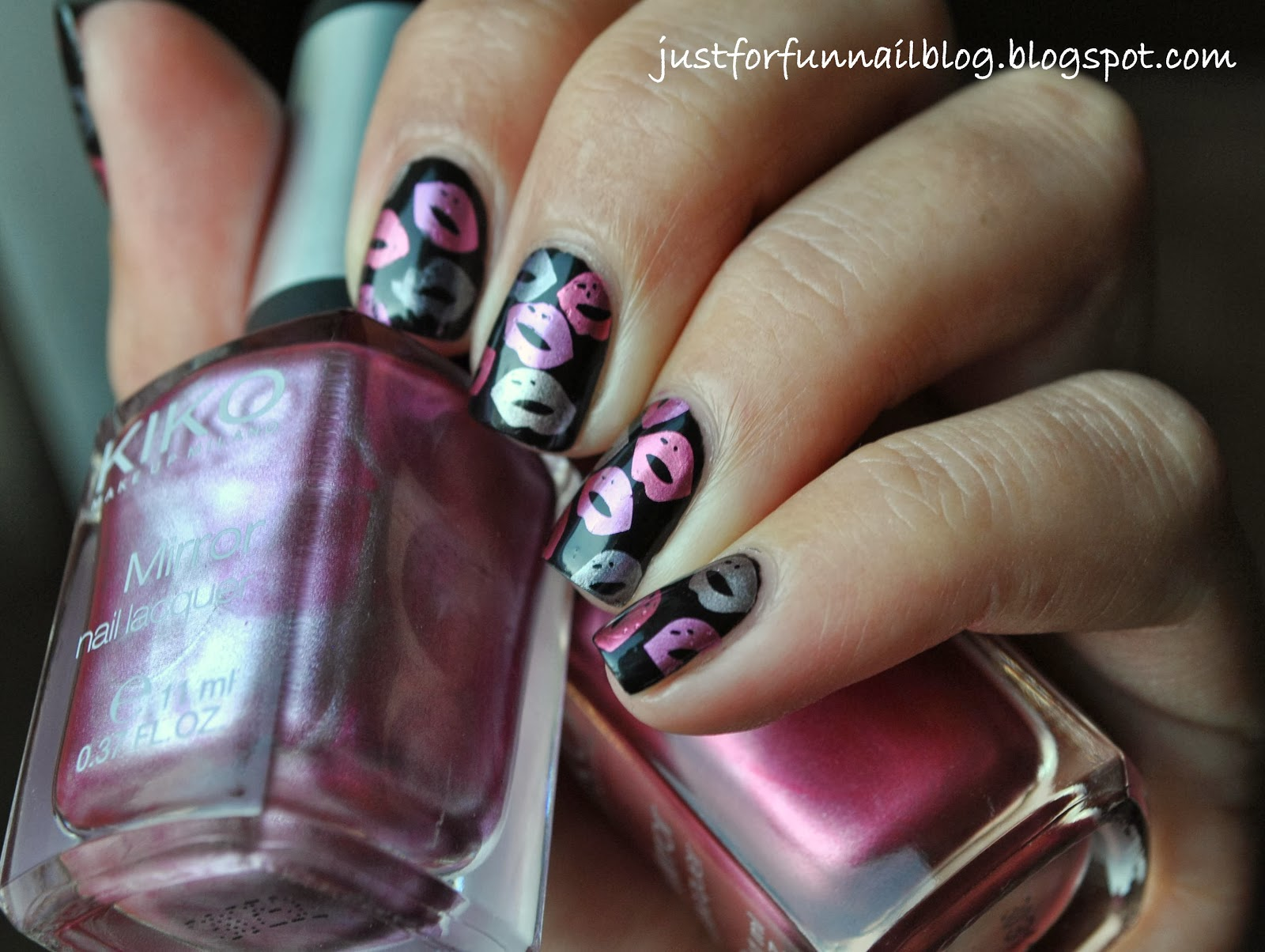 Week of Love V'day Nail Art Challenge - Day 2 - Kisses