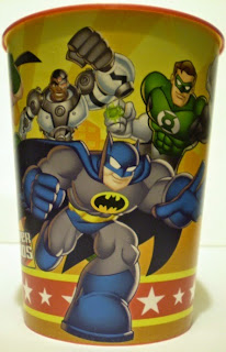 Third picture of red DC Super Friends party cup from Hallmark featuring Cyborg, Green Lantern and Batman