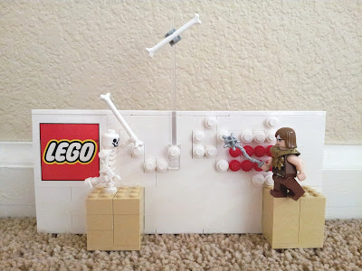 LEGO Castlevania NES with Skeleton throwing bone at Simon