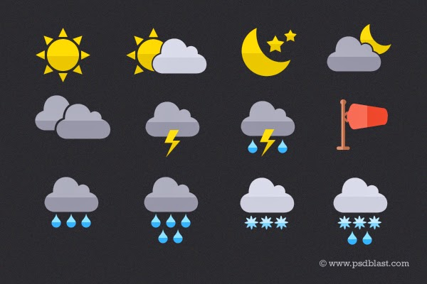 Flat Weather Icon PSD