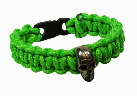 325 Parachute Cord Bracelet with skull bead - By Pepperell Crafts