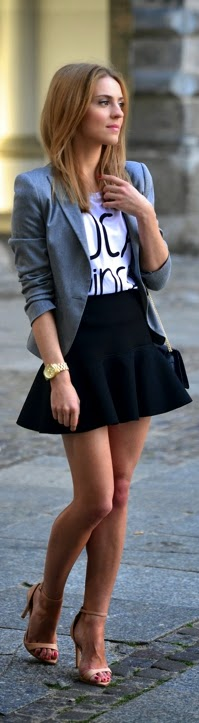Chic Grey Blazer with Print Tee Shirt and Black Ruffled Skirt   Street Styles