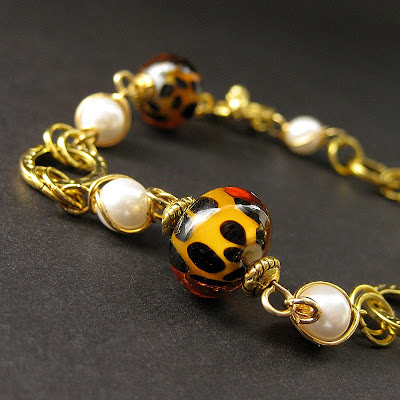 Lampwork Glass Leopard Print Bracelet in Gold and Pearls