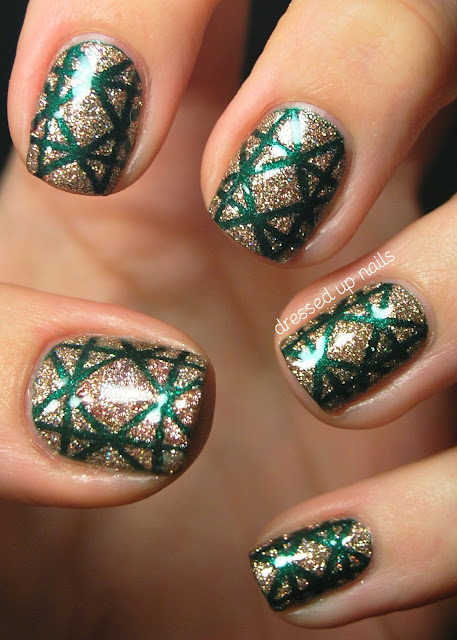Dressed Up Nails - Christmas wrapping paper striping tape nail art