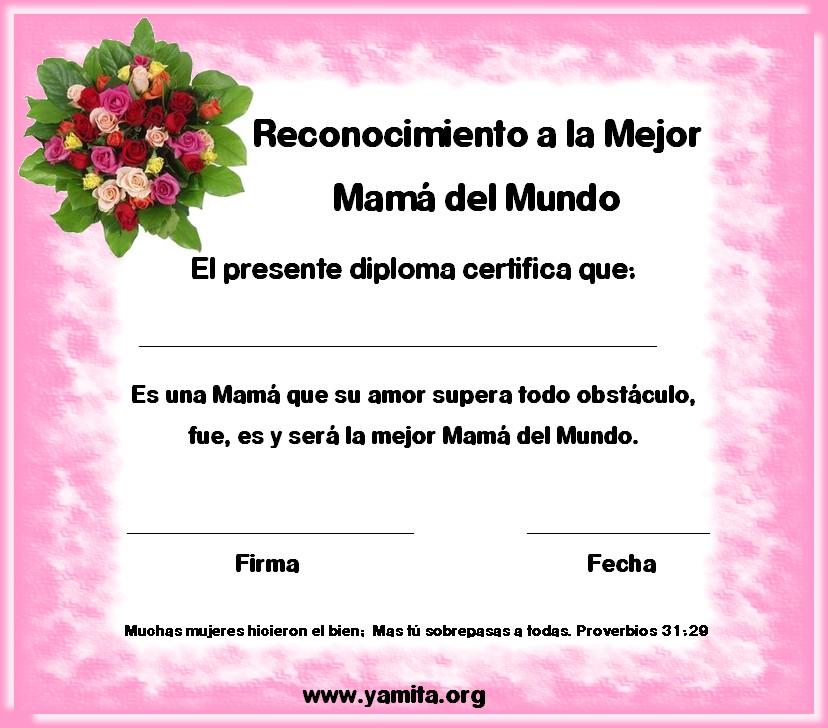 Diploma Para La Mejor Mama Del Mundo