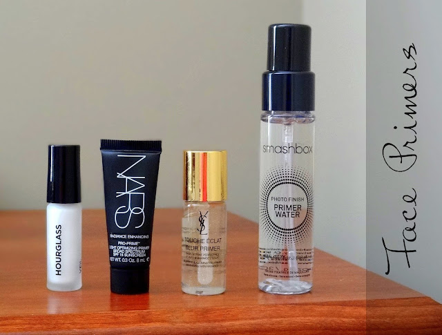 Face Primer roundup - Smashbox Primer Water, Hourglass Veil Mineral, NARS Pro prime light optimizing primer, YSL Touche Eclat Blur Primer