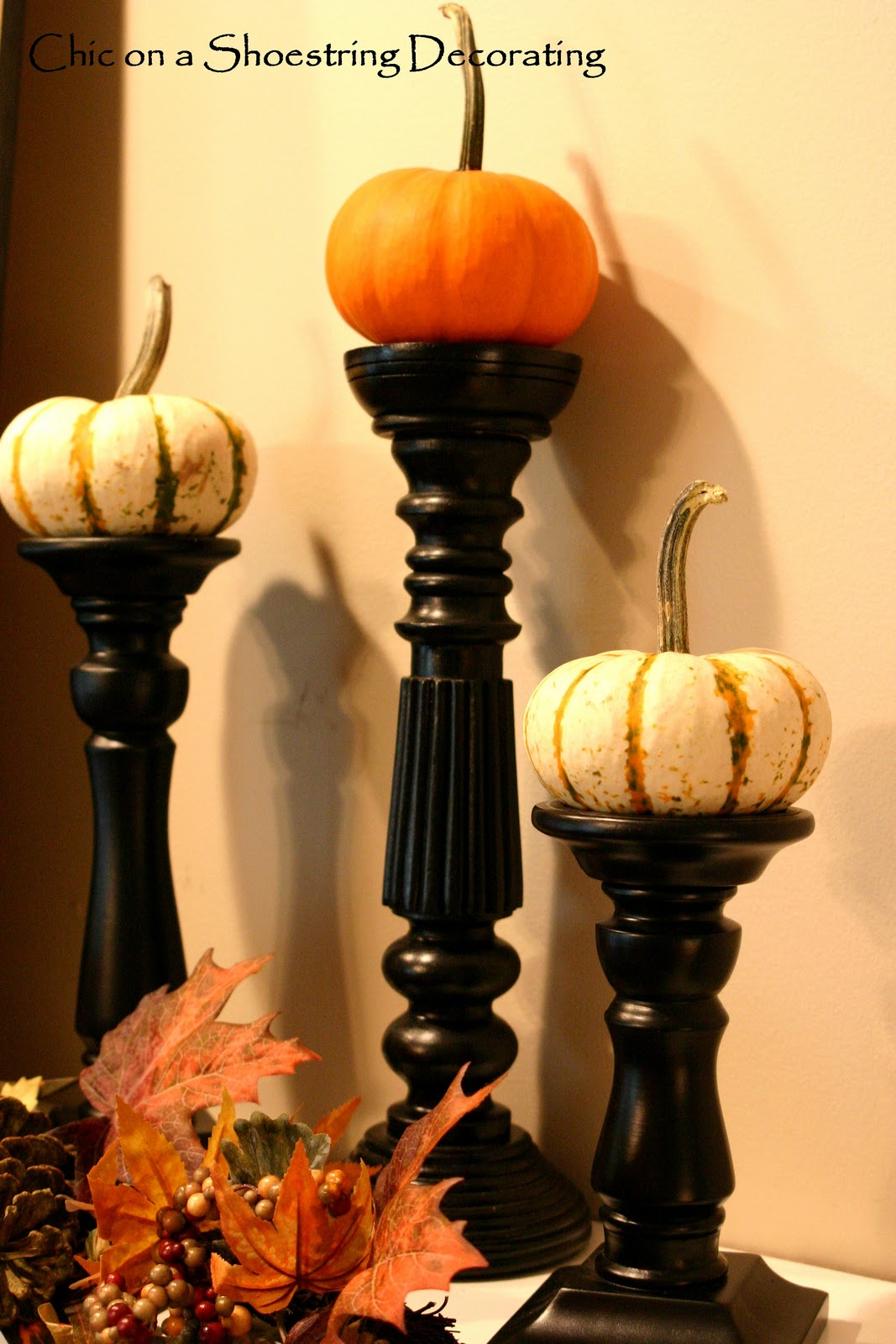 chic on a shoestring decorating budget friendly fall mantel. Black Bedroom Furniture Sets. Home Design Ideas