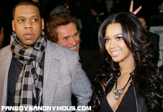 Sam Raimi Spider-man Green Goblin actor Willem Dafoe photobombs Beyonce Knowles and Jay Z