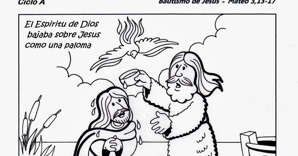 Encantador Colorear Bautismo De Jesús Ilustración - Dibujos Para ...