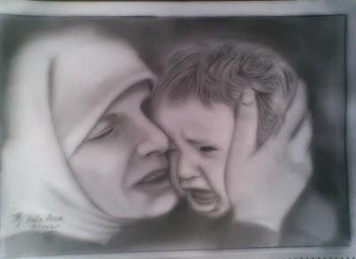 رسم طفل والأم بالرصاص