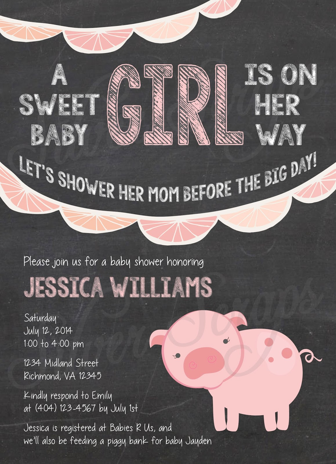 Finding Beauty in Life: Chalkboard and Pink Pig Baby Girl Shower ...