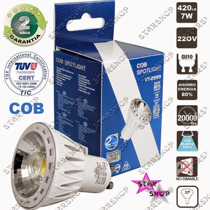 Bombilla led cob 7w gu10 420lm 6000k bajo consumo luz blanca dicroica halogeno ebay - Halogenos led bajo consumo ...
